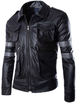 Multi-Pocket Zip Men's PU Jacket