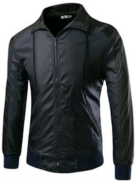 Color Block Zipper Men's Casual Jacket