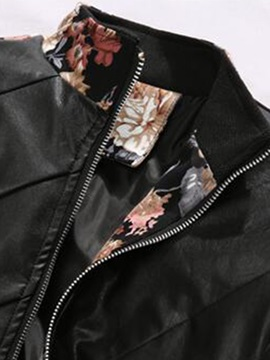 PU Patch Floral Printed Men's Casual Jacket
