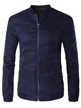Stand Collar Zipper Men's Casual Jacket