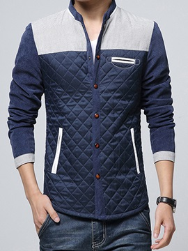 Contrast Color Stand Collar Men's Slim Fit Jacket