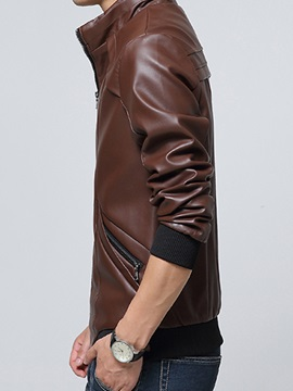 Stand Collar PU Casual Men's Jacket