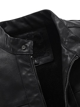 Stand Collar Zipper Men's Plain PU Jacket
