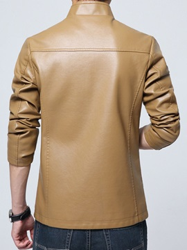 Zipper Solid Color Men's Stand Collar PU Jacket