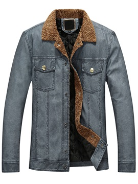 Solid Color Chest Pocket Men's PU Jacket
