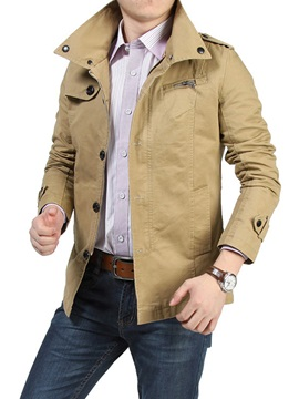 Plain Casual Men's Zipper Jacket