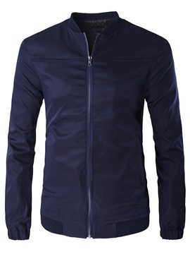 Stand Collar Plain Men's Zipped Jacket