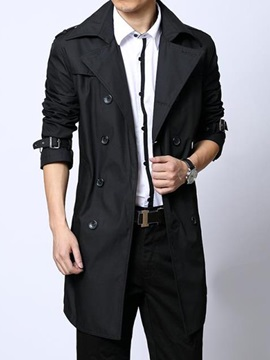 Medium Length Solid Color Lapel Double-Breasted Men's Coat
