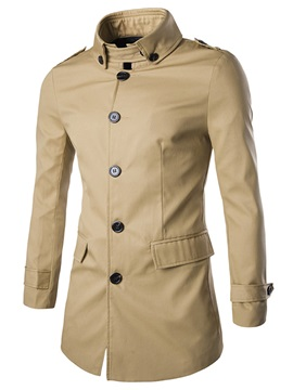 Solid Color Single-Breasted Men's Casual Trench Coat