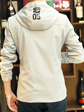 Solid Color Zipper Hooded Men's Casual Jacket