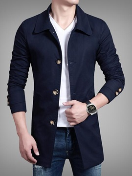 Plain Turn Down Collar Single-Breasted Men's Slim Coat