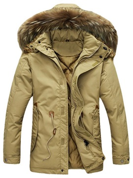 Zipper Hooded Solid Color Men's Casual Down Coat