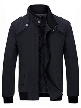 Zipper Stand Collar Casual Men's Jacket