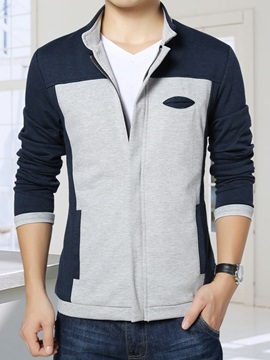 Patchwork  Stand Collar Men's Casual Jacket