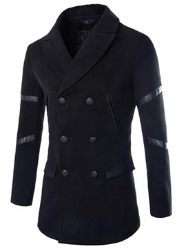 Mosaic Leather Double Breasted Solid Color Slim Men's Coat
