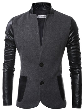 Stand Collar PU Patch Men's Casual Jacket
