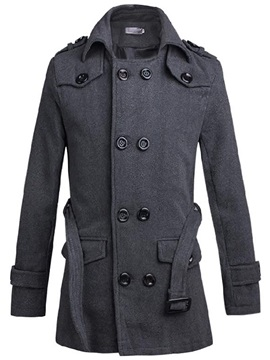 Solid Color Multi-Button Men's Causal Trench Coat
