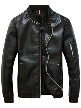 Stand Collar Arm-Zip Men's PU Jacket