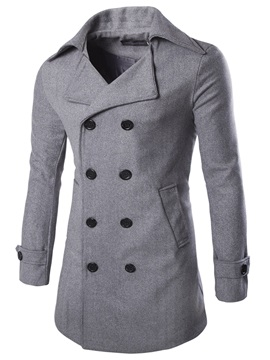 Notched Collar Double-Breasted Men's Long Pattern Coat