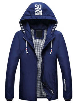Hooded Zipper Casual Men's Letter Printed Jacket