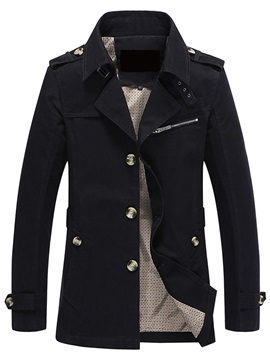 Plain Single-Breasted Men's Causal Thicken Jacket