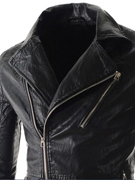 Zipper Notched Collar Men's PU Jacket