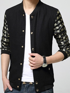 Single-Breasted Patchwork Men's Causal Jacket