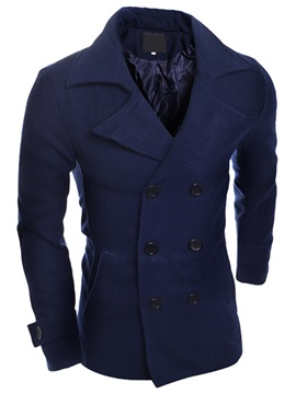 Double-Breasted Men's Plain Double-Breasted Coat