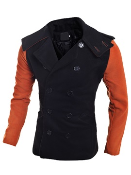 Notched Collar Patchwork Men's Casual Coat