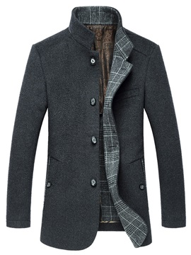 Single-Breasted Side Pocket Men's Woolen Coat