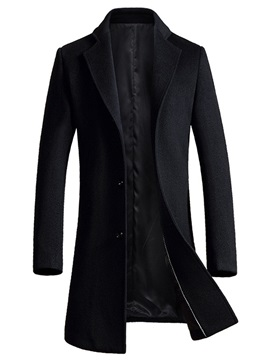 Notched Collar Long Pattern Men's Woolen Coat