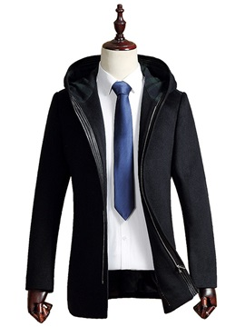Solid Color Hooded Zipper Mid-Length Warm Men's Woolen Overcoat