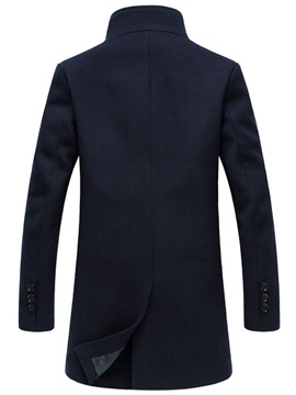 Turn Down Collar Plain Men's Long Pattern Coat
