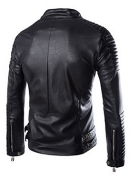 Zipper Solid Color Men's Causal PU Jacket