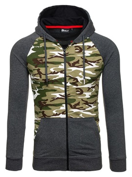 Camouflage Patch Hooded Men's Causal Jacket