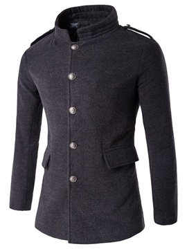 Stand Collar Single-Breasted Men's Plain Trench Coat