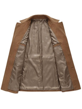 Notched Collar Single-Breasted Men's Plain Trench Coat