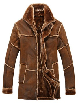 Long Pattern Shearling Stitch-Work Men's Coat