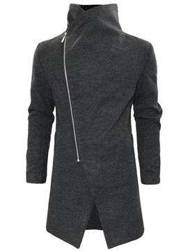 Oblique Zipper Fleece Turn Down Collar Men's Casual Coat
