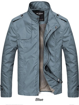 Stand Collar Zipper Men's Causal Pure Color Jacket