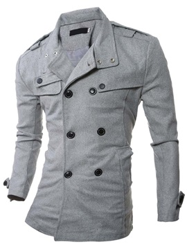 Solid Color Turn Down Collar Men's Pea Coat