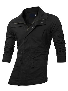 Turn Down Collar Men's Causal Plain Trench Coat