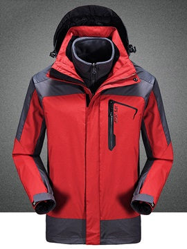 Color Block Zipper Hooded Men's Causal Jacket