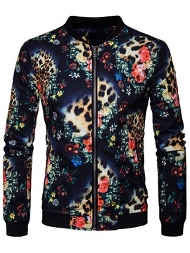 Digital Print Zipper European Men's Jacket
