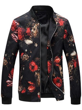 Tidebuy Stand Collar Pluse Size Floral Printed Men's Coat