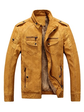 Stand Collar Pockets Solid Collar Leather Slim Men's Coat