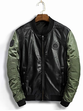 Stand Collar Leather Mosaic Long Sleeve Slim Men's Jacket