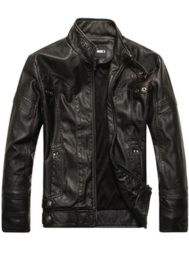 Stand Collar Plain Pocket Men's Leather Jacket