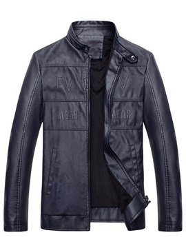Leather Warm Stand Collar Zipper Slim Men's Jacket