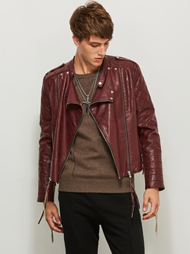 Notched Lapel Patchwork Zipper PU Men's Jacket